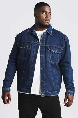 BoohoomanBoohooMAN Mens Grey Big & Tall Denim Western Jacket, Grey