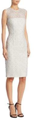 Carmen Marc Valvo Embroidered Silk Cocktail Dress