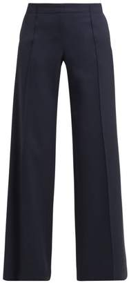 Chloé High Rise Wide Leg Wool Trousers - Womens - Navy