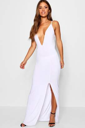 boohoo Petite Strappy Plunge Slit Front Maxi Dress