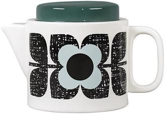 Orla Kiely Enamel Scribble Square Flower Teapot - Aqua