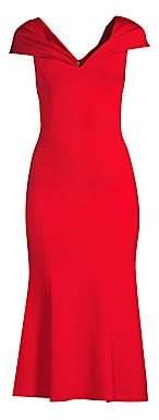 Alice + Olivia Women's Cecilia Drape-Shoulder Midi Dress - Size 0