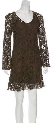 Diane von Furstenberg Lace-Accented Long Sleeve Mini Dress