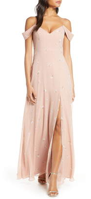 Jenny Yoo Priya Cold Shoulder Floral Chiffon Evening Dress