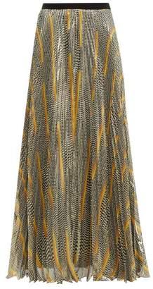 Giambattista Valli Knife Pleat Silk Blend Maxi Skirt - Womens - Black Gold