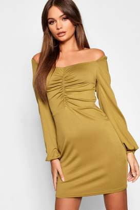 boohoo Ruched Square Neck Balloon Sleeve Bodycon Mini Dress