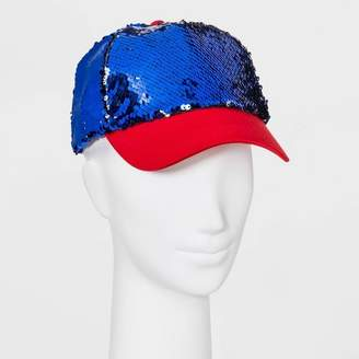 Mad Love Women's Americana Sequin Baseball Hat - Blue
