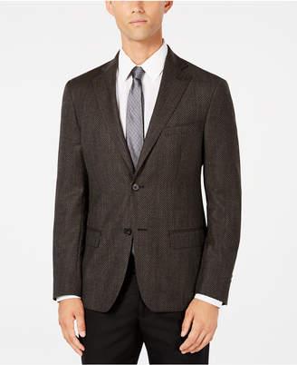DKNY Men Slim-Fit Chocolate/Blue Check Wool Sport Coat