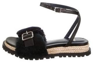 Sacai Shearling Espadrille Sandals w/ Tags