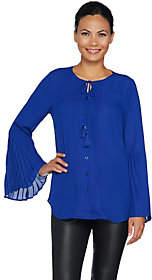 Belle by Kim Gravel Woven Blouse with RuffleBell Sleeve