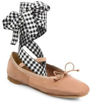 Miu Miu Leather Lace-Up Ballet Flats $550 thestylecure.com