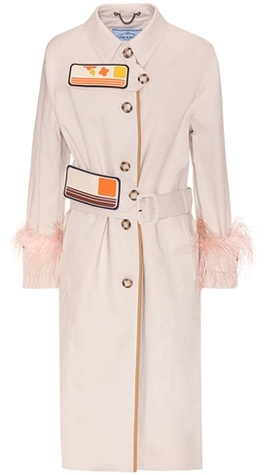 prada Prada Cotton Coat With Feather Trim