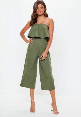 Missguided Khaki Crepe Double Layer Culotte Jumpsuit, Khaki