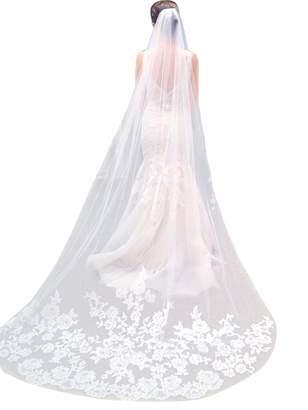 Qivange Wedding Veil White Ivory Cathedral Veil Lace Applique Edge 3M Long Bridal Veil w/Comb, White