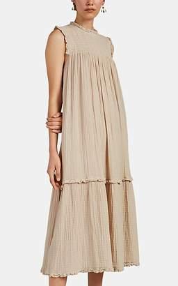 Raquel Allegra Women's Puckered Cotton Gauze Maxi Dress - Sand