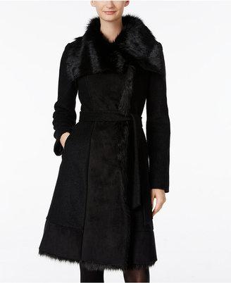 Vince Camuto Faux-Fur-Trim Walker Coat $400 thestylecure.com