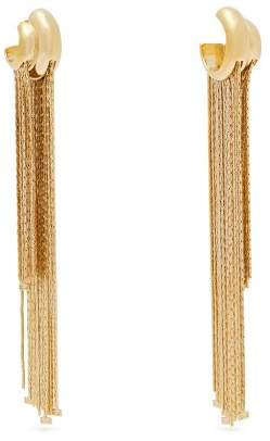 Givenchy Logo Charm Chain Fringe Earrings - Womens - Gold