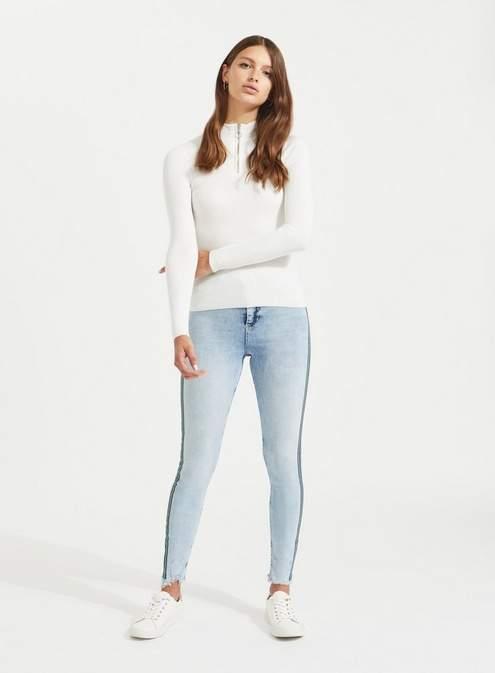 Lizzie super skinny light blue side stripe jeans