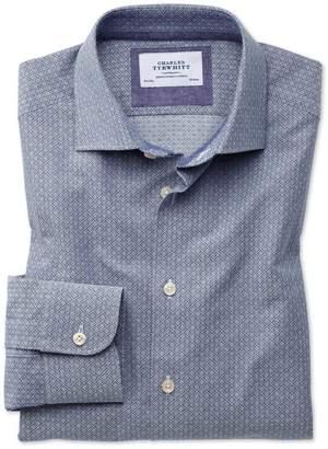 Charles Tyrwhitt Extra Slim Fit Semi-Spread Collar Business Casual Diamond Texture Navy and Grey Cotton Dress Shirt Single Cuff Size 15.5/35