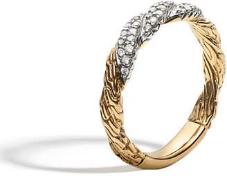 John Hardy 18k Gold & Diamond Twist Ring, Size 7