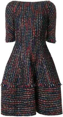 Talbot Runhof flared tweed dress