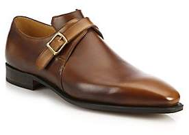 Arca Corthay Men's Buckle Pullman French Leather Dress Shoes