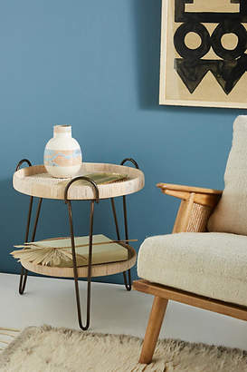 Anthropologie Coiled Rattan Side Table