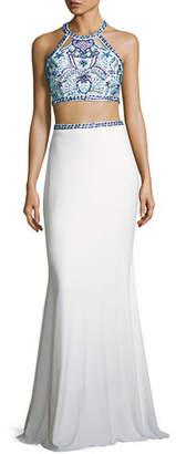 Faviana Beaded Two-Piece Stretch Jersey Gown