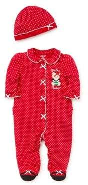 Little Me Baby Girl's Polka Dots Two-Piece Cotton Hat & Coverall Set