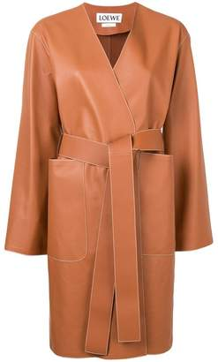 Loewe contrast stitch leather coat
