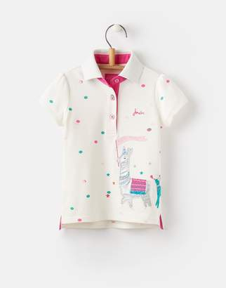 Joules Clothing Cream Party Parade Moxie Applique Polo Shirt 1yr