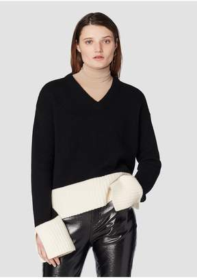 Derek Lam 10 Crosby V-Neck Sweater With Contrast Rib Detail