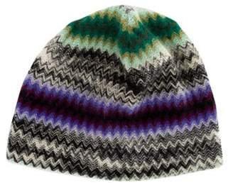 Missoni Patterned Wool Beanie Green Patterned Wool Beanie