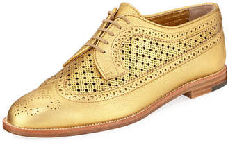 Manolo Blahnik Perforated Leather Lace-Up Oxford