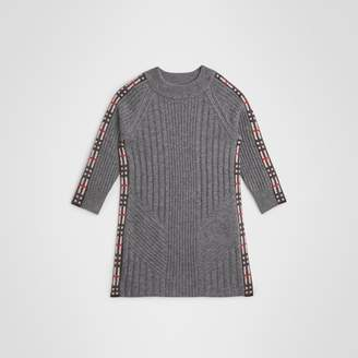 Burberry Check Detail Wool Cashmere Dress , Size: 8Y, Grey