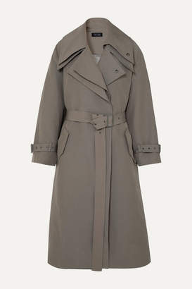 Low Classic Belted Layered Canvas Trench Coat - Beige