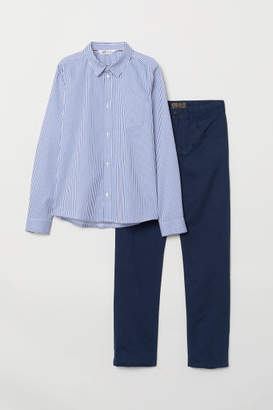 H&M Shirt and Twill Pants - Blue
