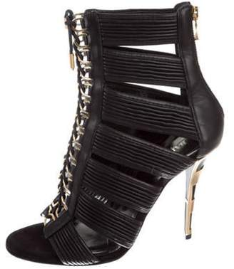 Balmain Lace-Up Cage Booties Black Lace-Up Cage Booties
