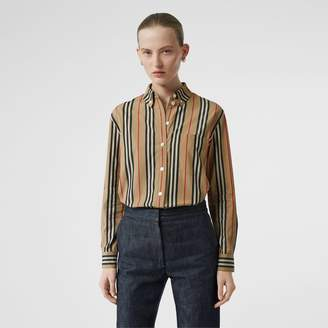 Burberry Button-down Collar Icon Stripe Cotton Shirt