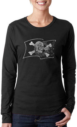 LOS ANGELES POP ART Los Angeles Pop Art Famous Pirate Captains And Ships Womens Long Sleeve Graphic T-Shirt
