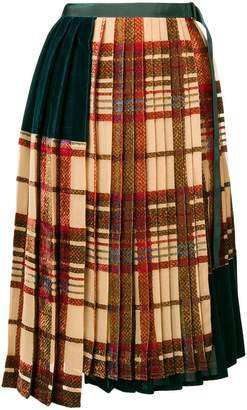 Sacai pleated tartan skirt