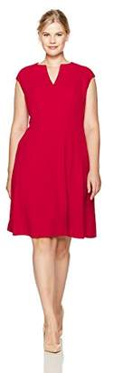 London Times Women's Plus Size Cap Sleeve Notch Neck Fit and Flare Dress