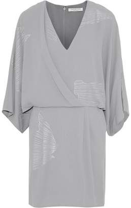 Halston Metallic Printed Crepe Mini Dress