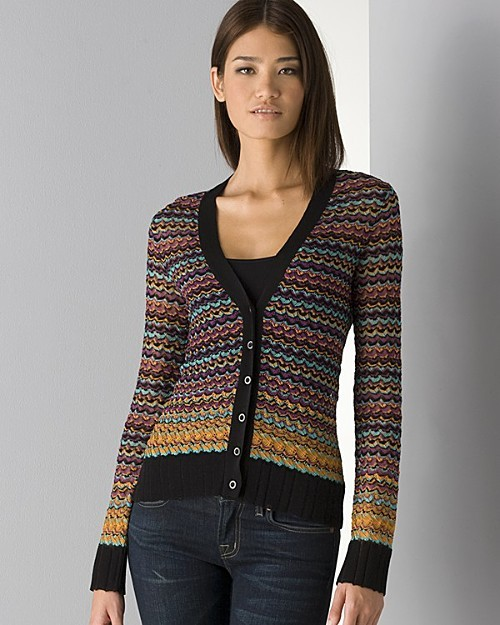 M Missoni Women's Ribbed Zig-Zag Stripe Cardigan