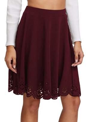 Shein Women's Basic Stretchy Scallop Hem A Line Skirt #