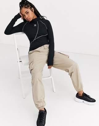 adidas A2K high neck trefoil long sleeve in black