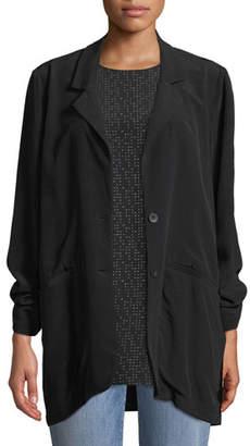 Eileen Fisher Long Crepe Two-Button Blazer, Petite