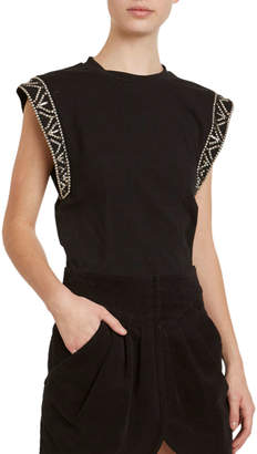Isabel Marant Cotton Beaded Dolman-Sleeve Tee