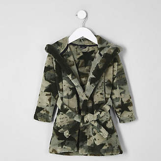 River Island Mini boys Khaki camo dressing gown