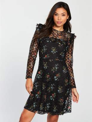 Very Printed Lace Skater Dress - Black